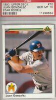 Juan Gonzalez 1990 Upper Deck star Rookie Card #72 GEM MINT 10 Texas Rangers