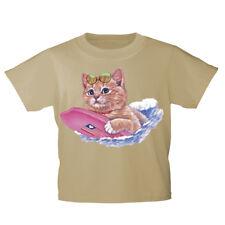 Kinder T-Shirt 152-164 mit Print Katzenmotiv Katze mit Surfbrett KA185 beige