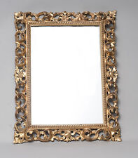 Antique Gilt Florentine Carved Wood & Gesso Mirror with Acanthus Scrolls c1850