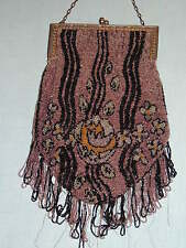 Beautiful Dark Purple 1920-30's Deco   Seed Bead Purse  w  Fringe