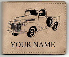 42 Chevy Pickup Leather Billfold With Drawing and Your Name On It-Nice Quality