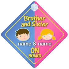 Brother and Sister On Board Personalised Car Sign