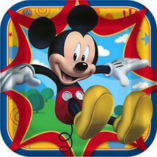 8 Disney Mickey Mouse Birthday Party 9in Square Dinner Paper Plates
