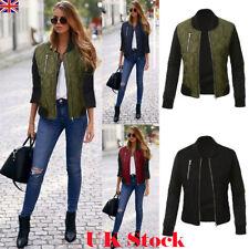 UK Fashion Ladies Womens Bomber Jacket Classic Style Zip Up Biker Vintage Jacket