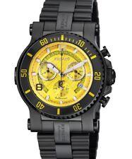 New Renato Beast Diver Swiss Chronograph 45mm Black IP Yellow Watch Extra Strap