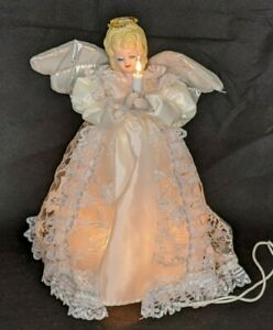 """Angel Tree Topper Electric Lights Up and Flashes Satin Lace Porcelain 9"""" EUC"""