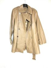 C10 WOMEN'S IMAN GLOBAL CHIC BROWN LEATHER GOLD BUTTON TRENCH COAT - SIZE MEDIUM