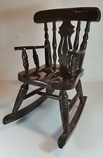"SMALL VINTAGE WOODEN ROCKING CHAIR IDEAL FOR DOLL OR TEDDY BEAR 11"" TALL"