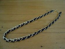 NWOT AMRITA SINGH Blk Grosgrain/Goldtone Chain Spring Ring Clasp Long Necklace