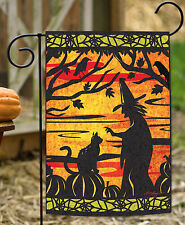 NEW Toland - Witch's Best Friend - Halloween Cut Out Kitty Cat Web Garden Flag