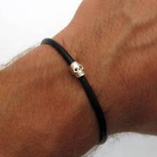 Skull Bracelet - Sterling Silver Skull black bracelet for Men - Gift for Him