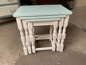 Vintage White & Green Painted Wooden Nest of 3 Tables Side End