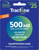 Tracfone Smartphone Only Plan - 60 Days/500 Minutes/1000 Text/500MB Data