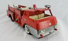 Vintage Steel Red Fire Truck Friction Toy W/ Hand Crank Siren Tonka?