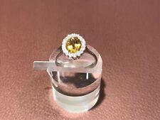 Citrine Zirconia Sterling Silver 925 Ring Made in Italy Hallmarked US Size 6 NEW
