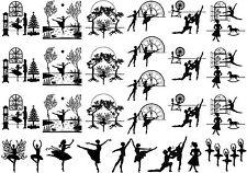 """Black Ballet Ballerina 5""""X7"""" Card Fused Glass Ceramic Decals 14CC411"""