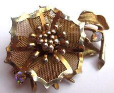 broche couleur or nid d'abeilles bijou vintage fleur cristaux borèalis 2859