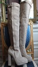 Auth RICHMOND gothic beige suede high heels boots over knee lenght 100% leather