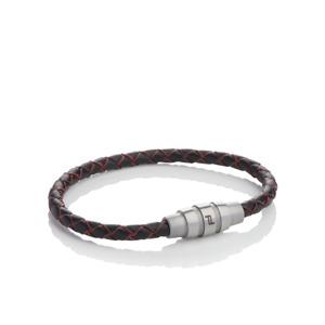 Porsche Design Bracelet Grooves stainless steel,cow leatherRed Black 19 cm *NEW*