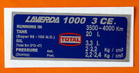 LAVERDA 1000 3CE  CAPACITIES/TYRE PRESSURE DECAL-UK