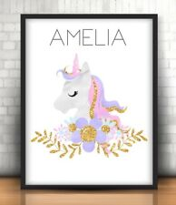 A4 Personalised Unicorn Print ANY Name Personalised Gift Pretty Pink Unicorn