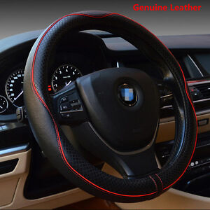 38cm Real Leather Car Steering Wheel Cover Breathable Anti-slip Sleeve Protector
