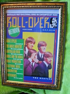 FRAMED PICTURE OF  ROCK N ROLL BAND 30 X 25 CM BEATLES MAGAZINE
