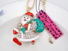Betsey Johnson Cute blue Santa Claus pendant necklace # B345
