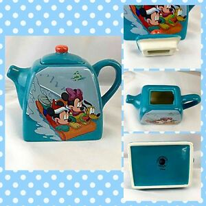 Disney Tea Pot Mickey & Minnie Mouse Pluto Sledding Small Teal Teapot