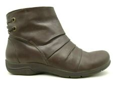 Clarks Brown Ruched Leather Casual Zip Up Ankle Boots Shoes Women's 9 M