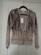 NEW Womens Pringle Cashmere Silk Sequin Fixed Wrap Top Size Small