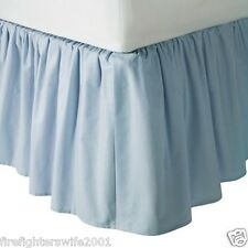 "Tl Care Percale Crib Skirt Light Blue 13.5"" drop cotton new"