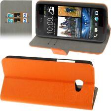 Book Tasche Wood für HTC Butterfly S 9060 in orange Etui Hülle Case Schutzcase