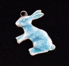 Antique Blue Rabbit Enamel Sterling Silver Charm Pendant Guilloche Easter Bunny