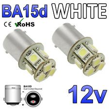2 x 12v Cool White BA15D 8 SMD LED Interior Light Bulbs 209 Motorhome Boat Yacht