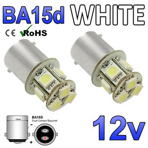 2 X 12v Cool Weiß BA15D 8 SMD LED Innen Glühbirnen 209 Wohnmobil Boot Yacht