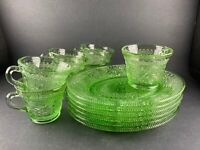 Vintage Tiara by Indiana Glass Snack Plate Cup Set of 7 Sandwich Chantilly Green