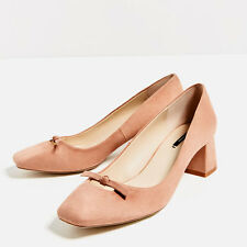 ZARA PINK MID HEEL SHOES WITH BOW DETAIL, SIZE 5UK /38EU /7.5US