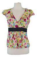 ODILLE Women's Multicolor Floral V-Neck Cap Sleeve Wrap Top Sz 6 NWOT