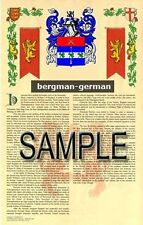 BERGMAN Armorial Name History - Coat of Arms - Family Crest GIFT! 11x17