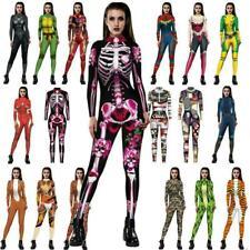Halloween Cosplay Costume Womens Jumpsuit Bodysuit Bodycon Fancy Dress Catsuit