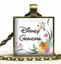 Disney Grandma Glass Top Pendant Necklace Handcrafted Family Statement Jewelry