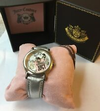 """Juicy Couture """"Choose Juicy"""" Watch With Genuine Leather Strap in Silver"""