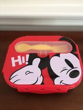 Disney Store Mickey Mouse Silicone Lunch/Food Storage Container W/Spork