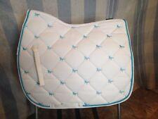 Centaur White w/turquoise horses contoured English AP saddle pad diamond quilted