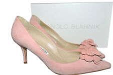 Manolo Blahnik Bb Rose Camelia Suede Pumps Pointy Toe Shoe 39- 8 New