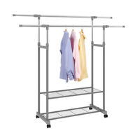 Garment Rack Double Rail Rolling Wheel Clothes Drying Hanger With 2 Tier Shelves