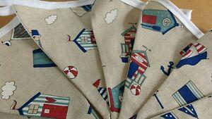 Handmade Scattered Beach Hut/Seaside Fabric Bunting - 12 flags