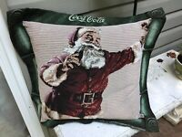 "Authentic COKE Pillow~24"" Sq~Santa Drinking Coca Cola~c 1996~FREE SHIPPING~"
