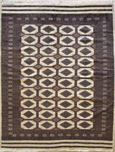 Rugstc 6x9 Bokhara Jaldar White Area Rug, Hand-Knotted,Geometric with Wool Pile